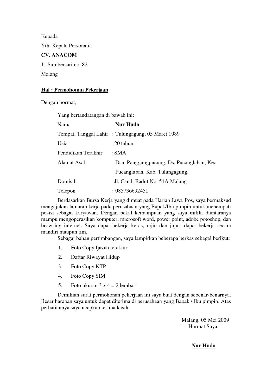 Contoh Surat Lamaran Kerja Yang Baik Dan Benar Sederhana