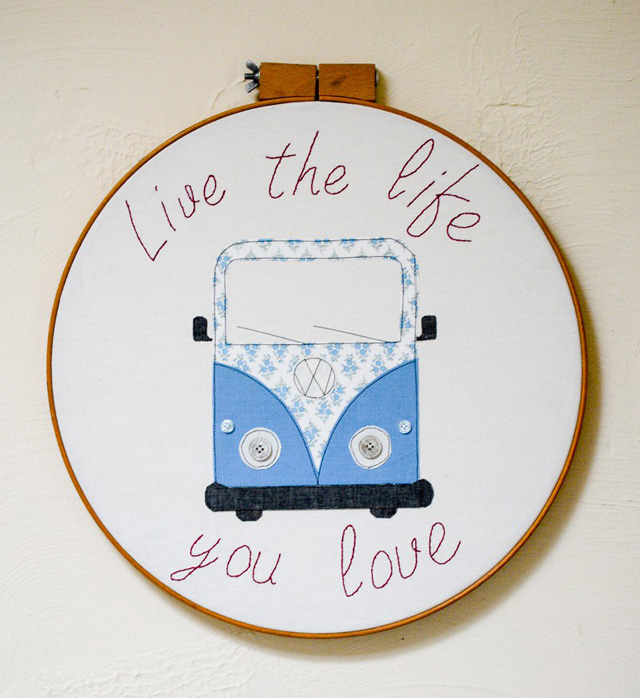 Learn how to make an embroidery hoop campervan wall art with embroidery and appliqué. Tutorial by Vicky Myers Creations