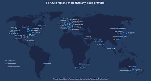 Azure 54 Regions, Worldwide