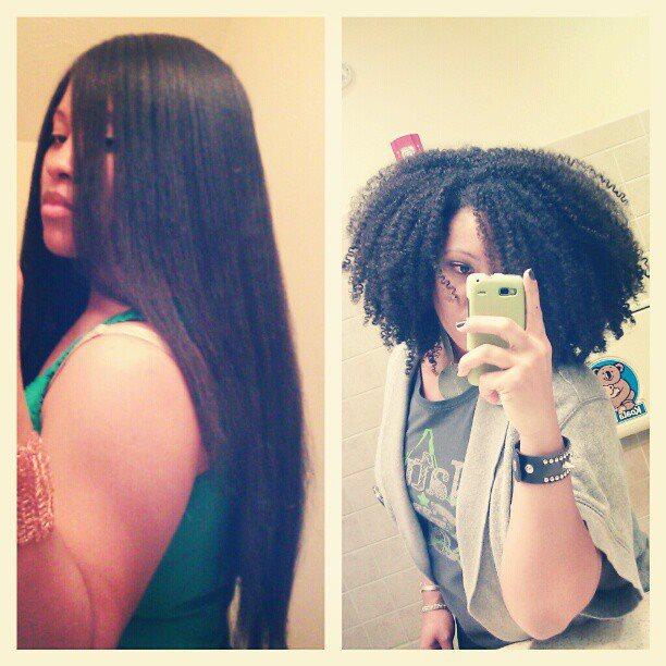 pelo afro alisado versus rizado