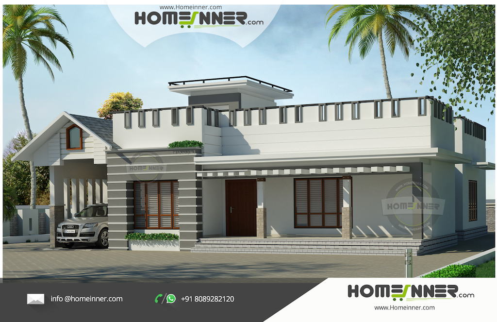 Contemporary Style 2000 sqft 3 bedroom Luxury Spacious Flat roof Indian Home Design