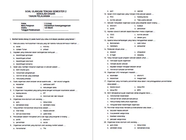 Soal Latihan UTS PKn Kelas 5 SD Semester 2