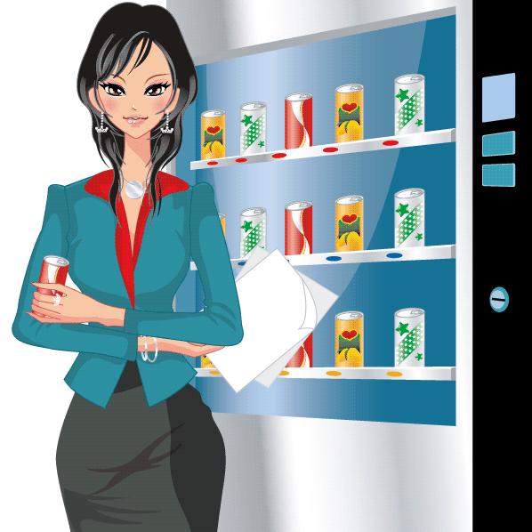 mujer trabajadora refresco vector