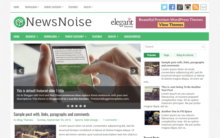 NewsNoise Free Blogger Template