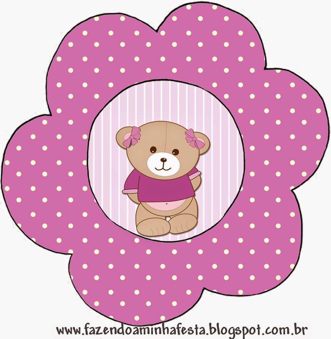 Tarjeta con forma de flor de Osita en Fondo Lila.