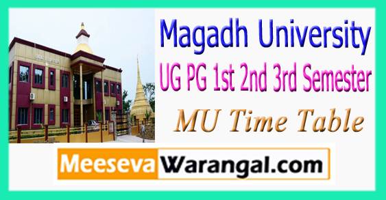 Magadh University UG PG 1st 2nd 3rd Semester Time Table 2017