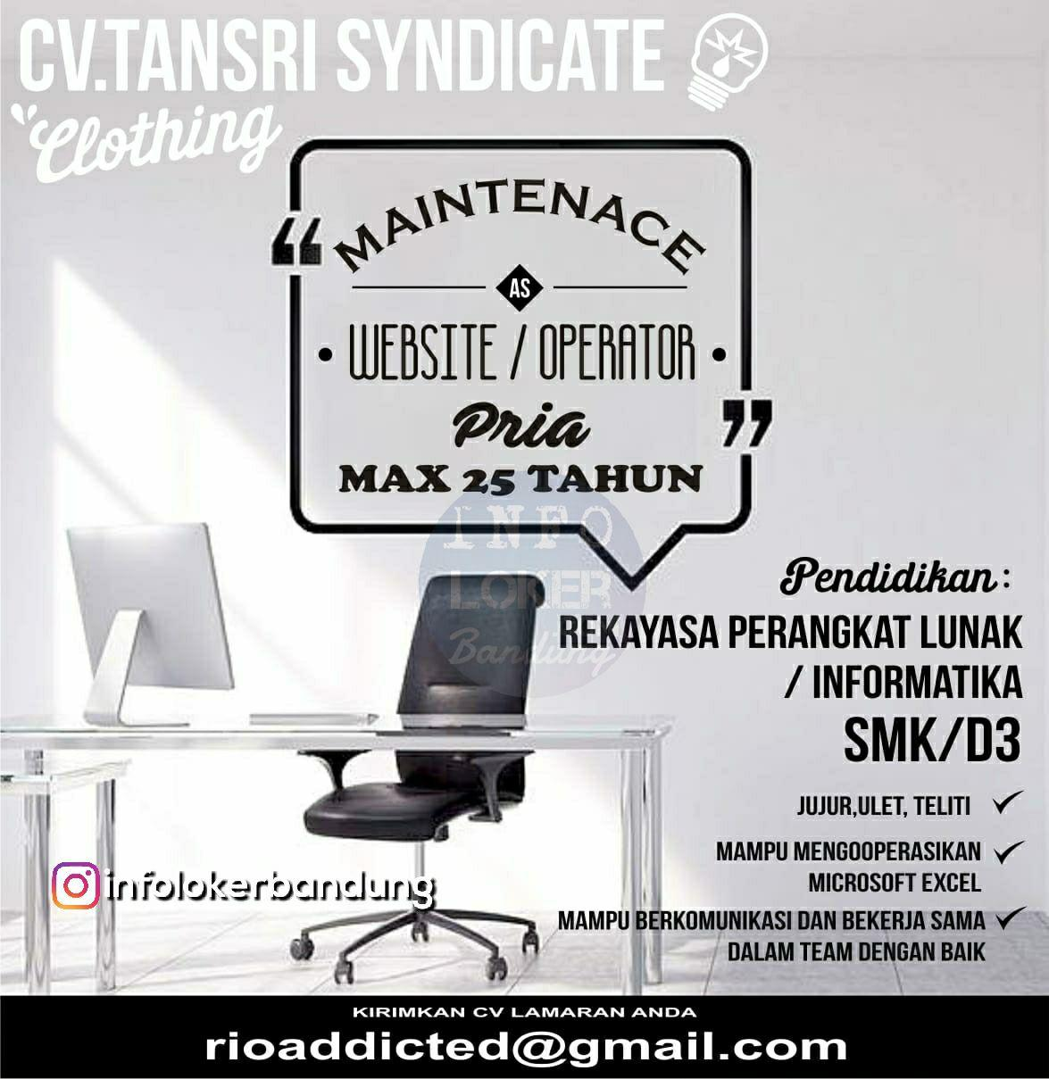 Lowongan Kerja CV. Tansri Syndicate Clothing Bandung November 2018