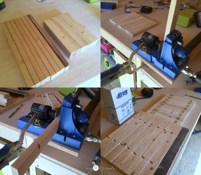 using a Kreg pocket hole jig to build shelf frame supports