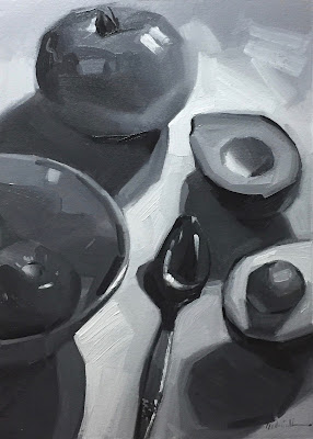 fine art black and white oil painting of avocado