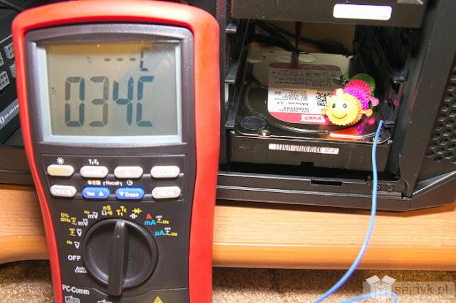 """Temperatura zewnętrzna dysku WD RED 6TB po pół godzinie """"katuszy"""""""