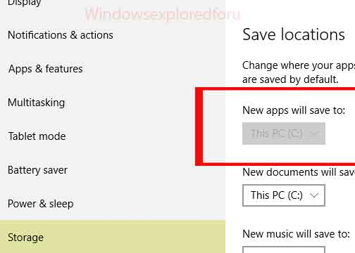 Change default location for Saving Apps in Windows 10