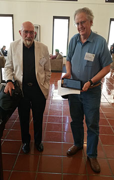Resident Astronomer thanks and asks Professor Kip Thorne if he can sign my Ipad E-book copy at TrimbleFest