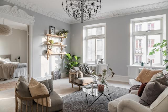 Accente naturale de culoare decor relaxat într-un apartament de 3 camere din Suedia
