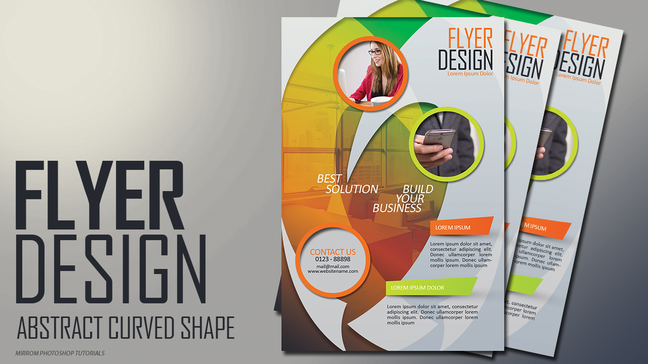 Create Abstract Curved Shape Flyer Design In Photoshop
