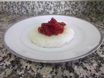 Hamburguesas de arroz con pimientos caramelizados