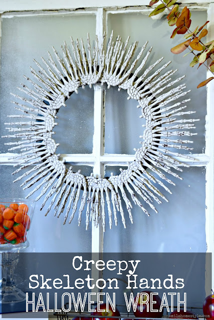 Add a little Halloween to you home with this DIY Creepy Skeleton Hands Halloween Wreath