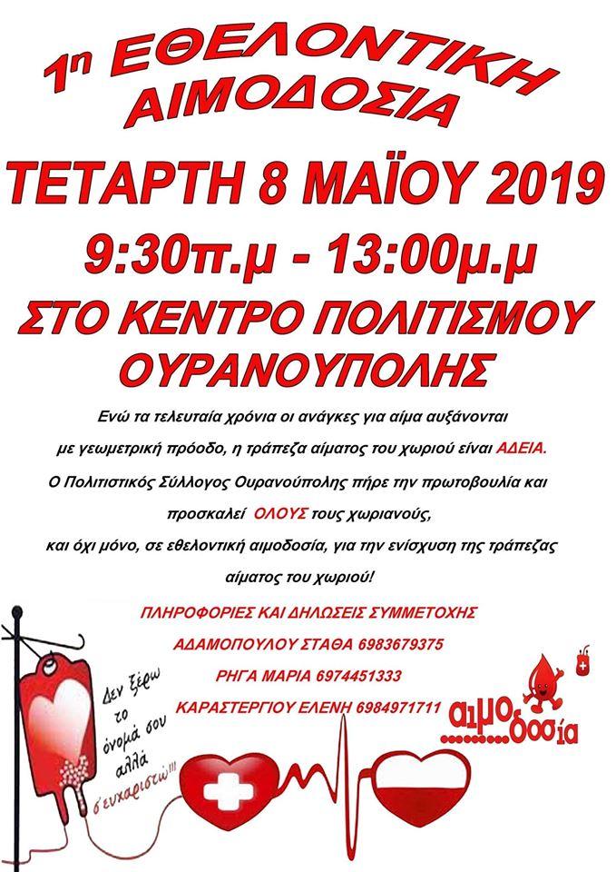 Πολιτιστικός Σύλλογος Ουρανούπολης 1η Εθελοντική αιμοδοσία