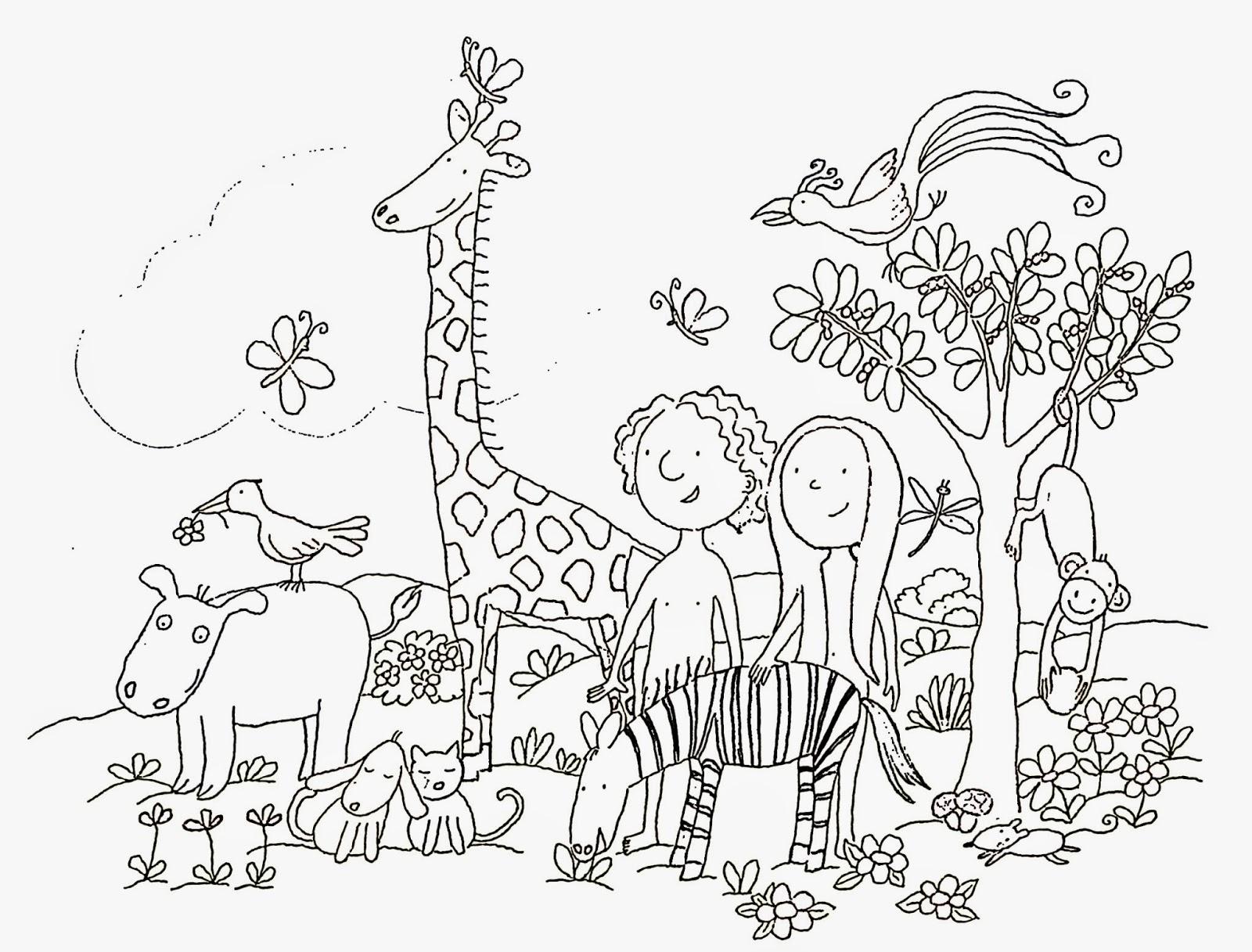 Adán y Eva para colorear ~ Dibujos para Niños
