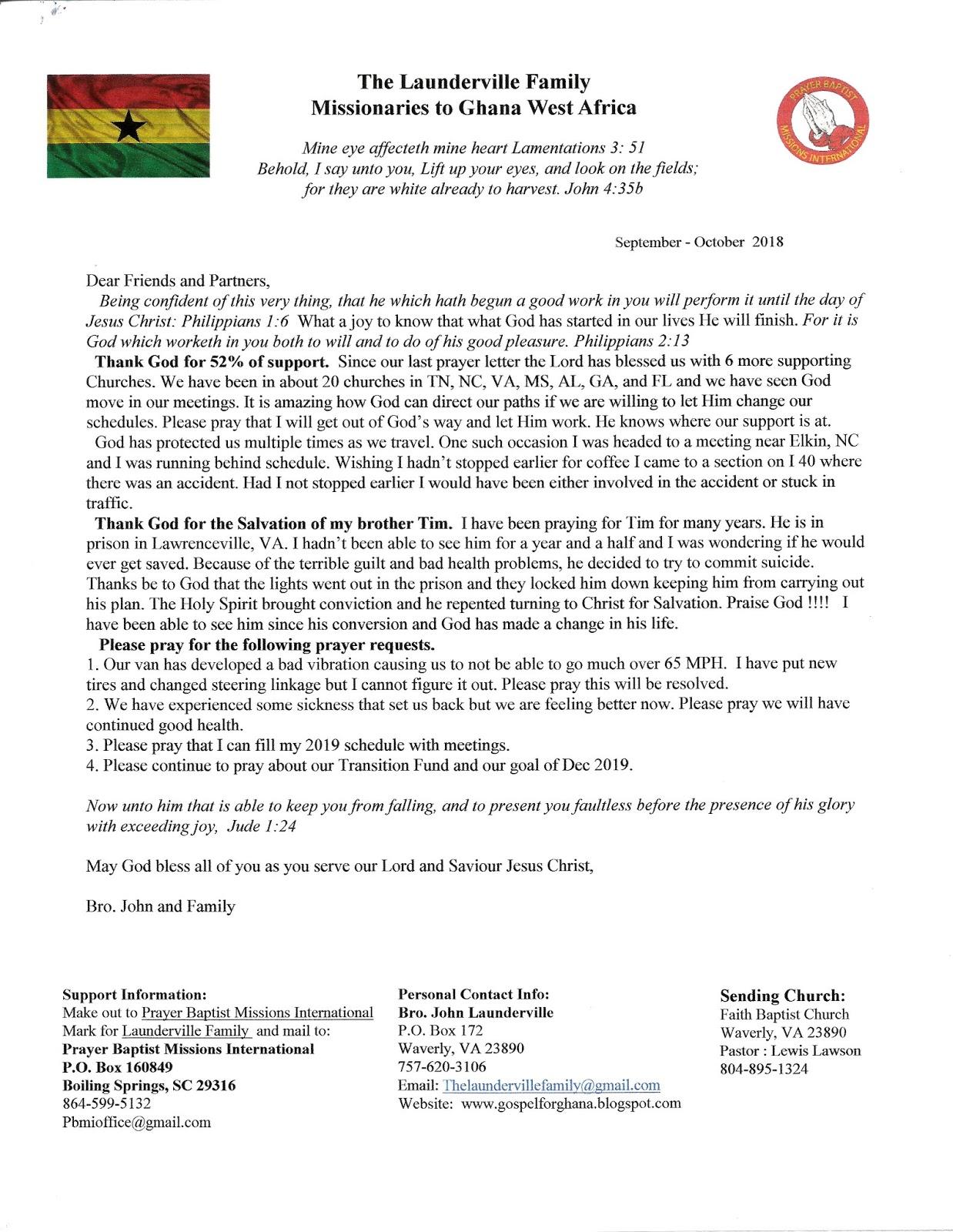 To Ghana with the Gospel : September - October Prayer Letter