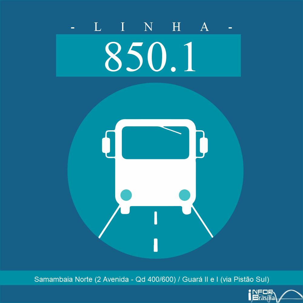 Horário de ônibus e itinerário 850.1 - Samambaia Norte (2 Avenida - Qd 400/600) / Guará II e I (via Pistão Sul)