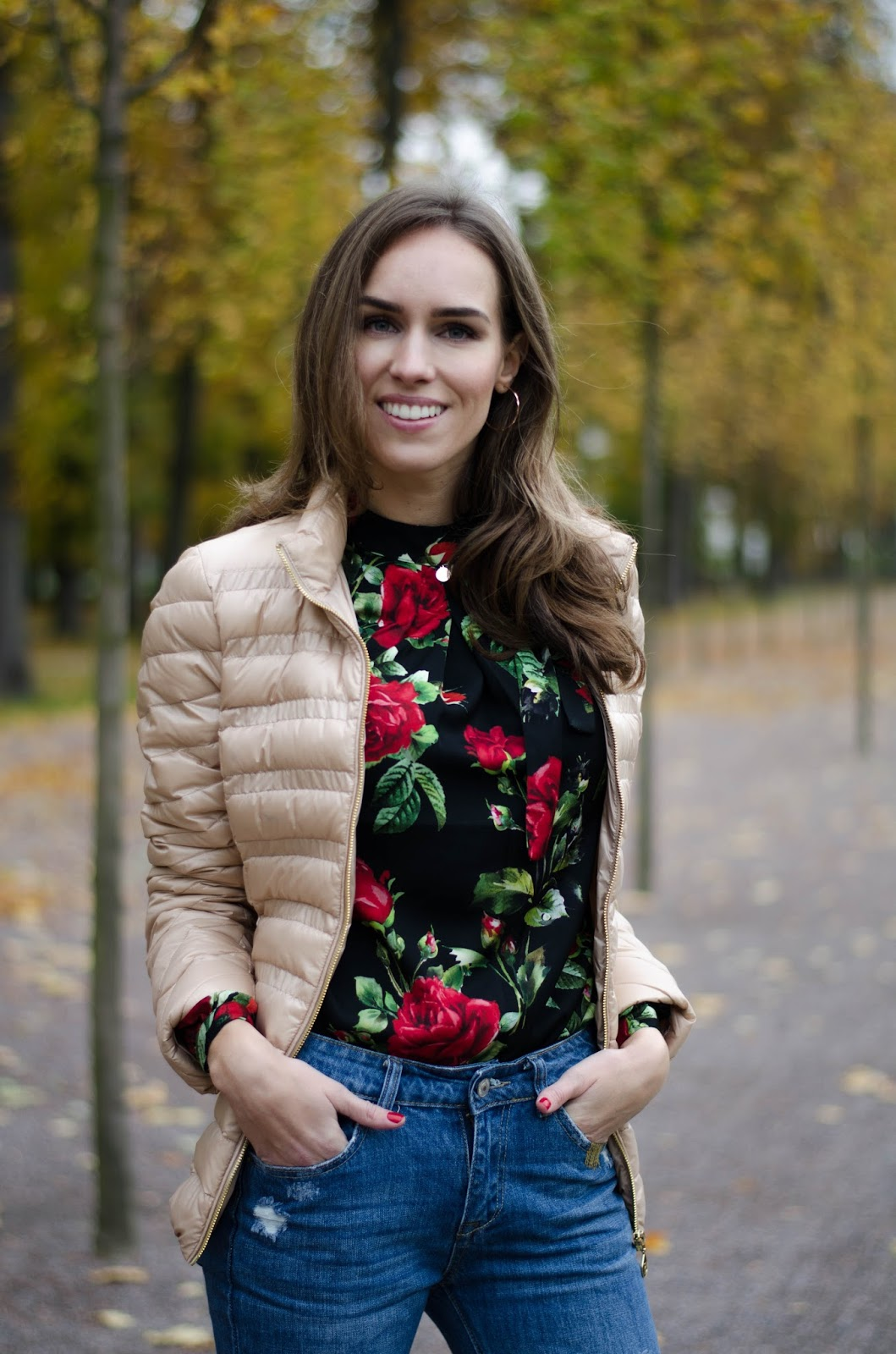 fall florals bow blouse outfit