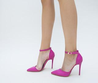 Pantofi roz de seara cu toc inalt si decupaj pe margini