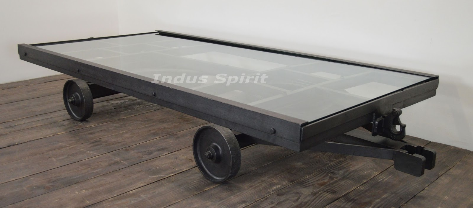 Table basse chariot industriel # Table Basse Industrielle Chariot Ptt