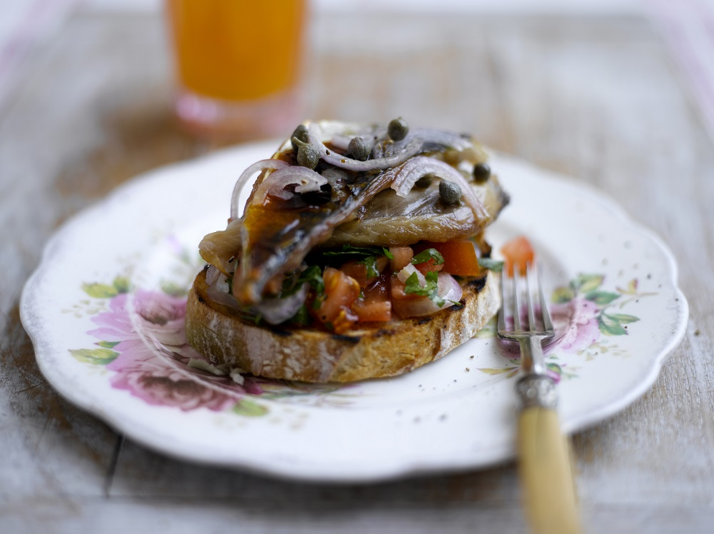 Mackerel With Herby Tomato And Shallots Salsa On Toast
