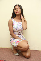 Nishi Ganda stunning cute in Flower Print short dress at Tick Tack Movie Press Meet March 2017 093.JPG