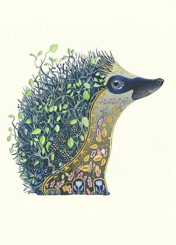 08-Hedgehog-at-Night-Daniel-Mackie-Flora-and-Fauna-Watercolour-illustrations-www-designstack-co