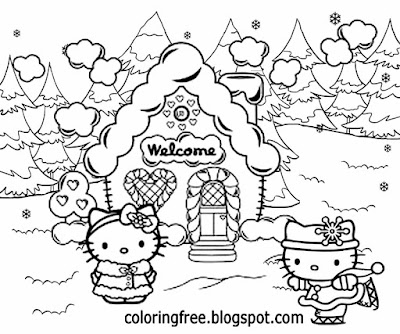 Easy creative winter season scenery girls cartoon house of Christmas candy sweet hello kitty sketch