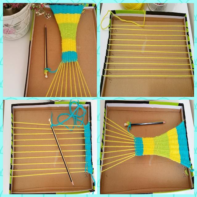 Make a kid's weaving loom from cardboard
