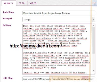 Cara Mengirim Artikel Blog keViva Log1