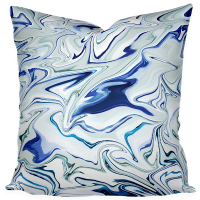 marble fabric marbleized like blue white emily henderson headboard fabric