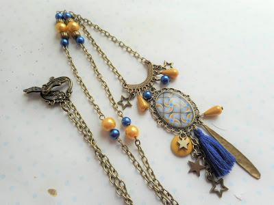 collier wax jaune et bleu