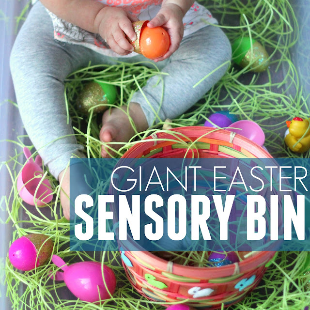 giant Easter sensory tub for toddlers and preschoolers
