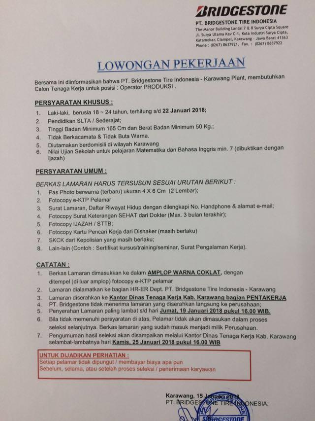 Cepat Daftar Sebelum Terlambat! Lowongan Pekerjaan Di PT BRIDGESTONE TIRE INDONESIA 2018
