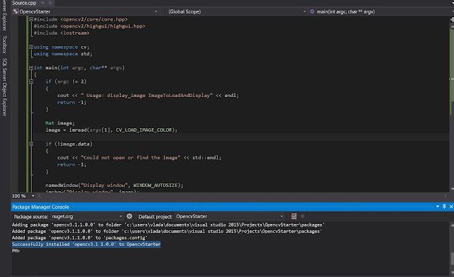 opencv 3.1 nuget instal visual studio
