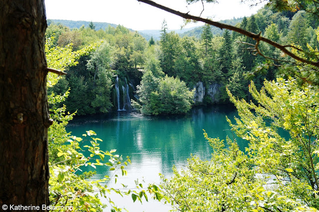 View of Lakes and Waterfalls from upper trail of Plitvice Lakes Croatia
