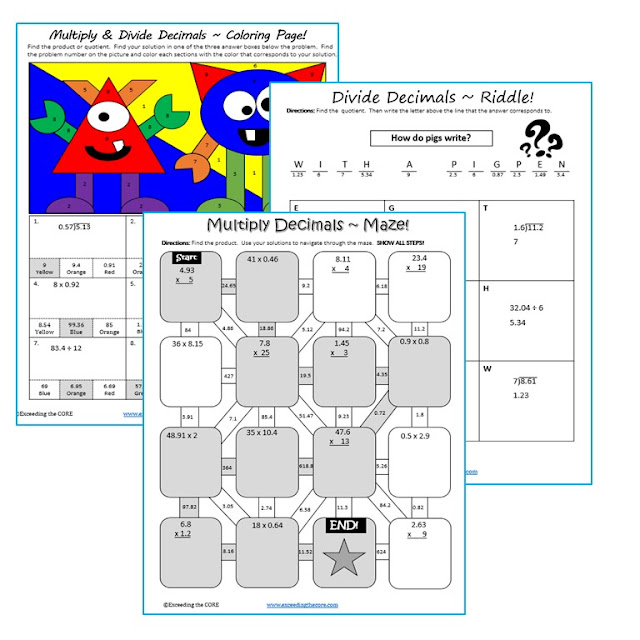 Exceeding the CORE: Math Mazes, Riddles & Coloring Page (FUN