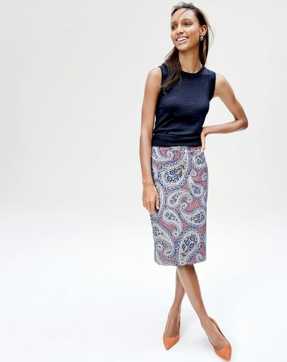 jcrewismyfavstore j crew no 2 pencil skirt in paisley
