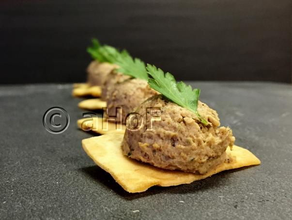 Chicken Mushroom Pate on Pita Crisps