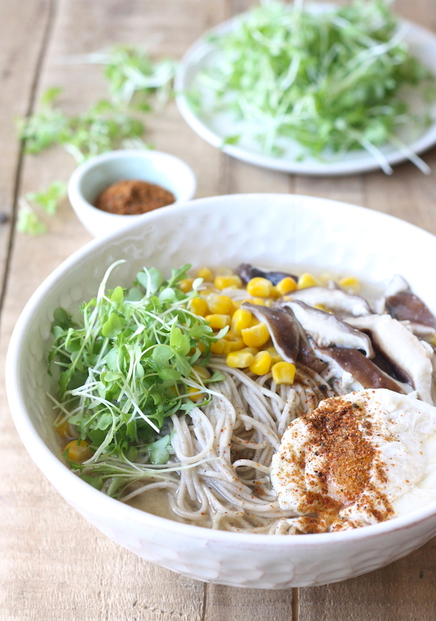 Vegetarian miso soba noodle soup by SeasonWithSpice.com