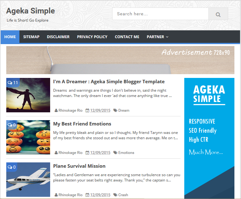 Ageka Simple High CTR Responsive Blogger Template