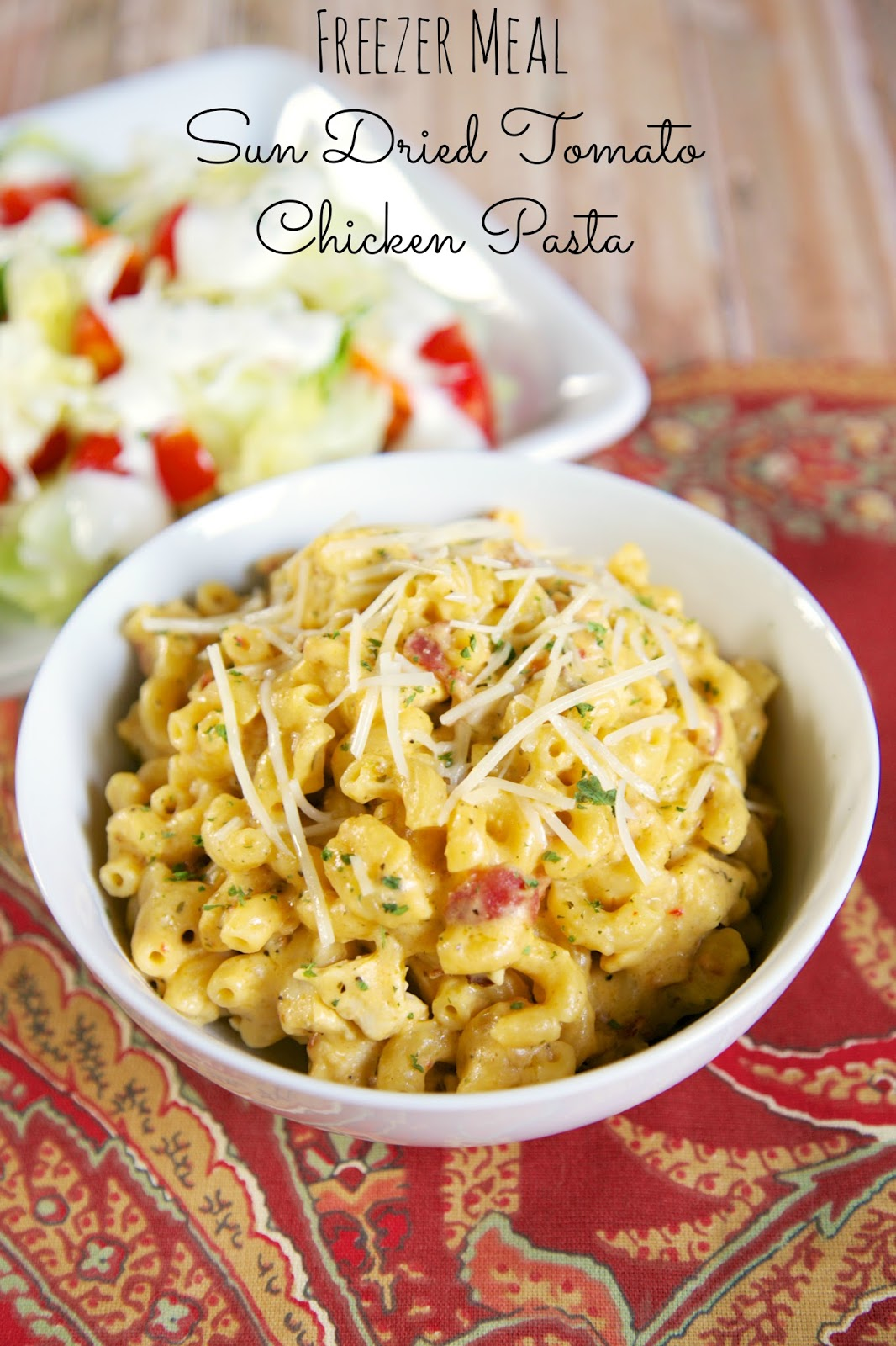 {Freezer Meal} Sun Dried Tomato Chicken Pasta - crazy delicious!!! Everyone cleaned their plate and asked for seconds!!! Pasta, chicken, sun dried tomato seasoning, garlic seasoning, dried mustard, cheddar cheese soup, evaporated milk, milk, cheddar cheese, mozzarella, and bacon. Can cook frozen in the slow cooker. We make this at least once a month! #freezermeal #pasta #slowcooker #chicken