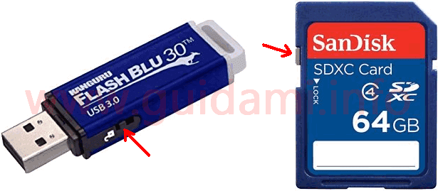 Chiavetta USB e scheda SD con selettore blocco scrittura nella scocca