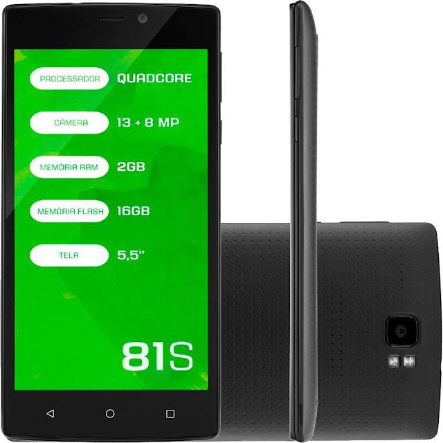 """Lojas Americanas Smartphone Mirage 81s Tela 5,5"""" Câmera 13mp + 8mp 4g"""