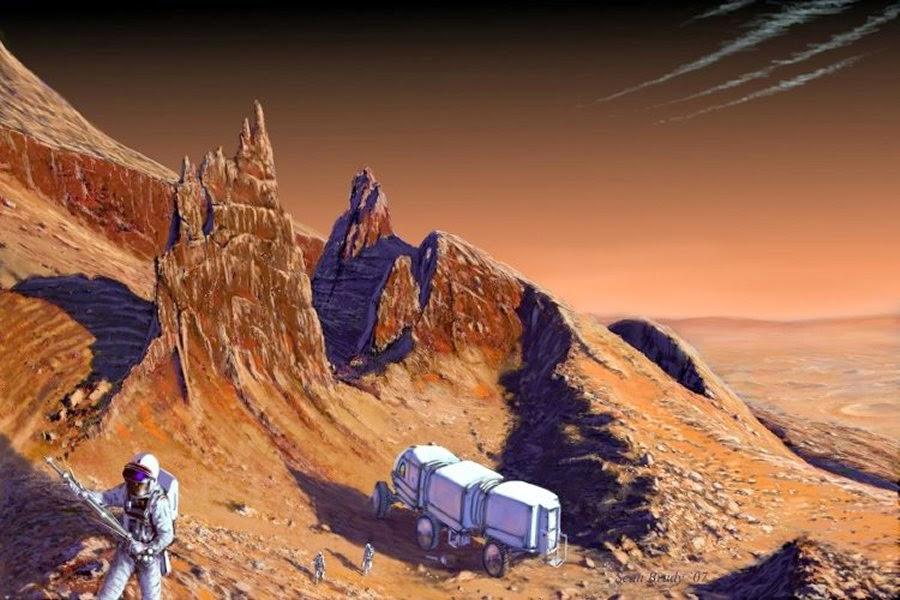 Astronauts exploring Mars by Sean Brady
