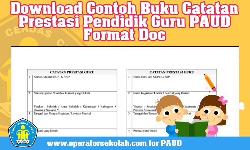 Download Contoh Buku Catatan Prestasi Pendidik Guru PAUD Format Doc