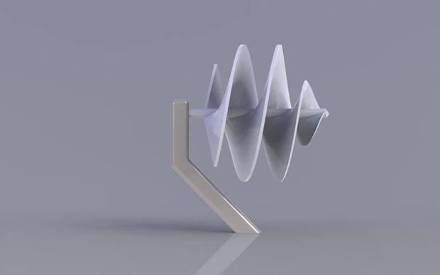 Vista lateral pequeño aerogenerador con Solidworks